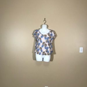 Lucky Brand Pink Pineapple Short Sleeve Top